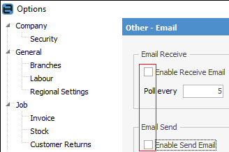 untick enable email