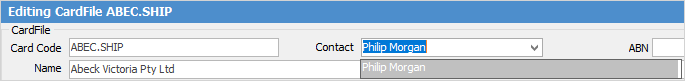 contact from dropdown