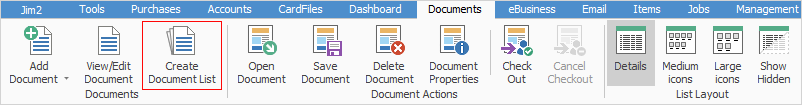 Create document list